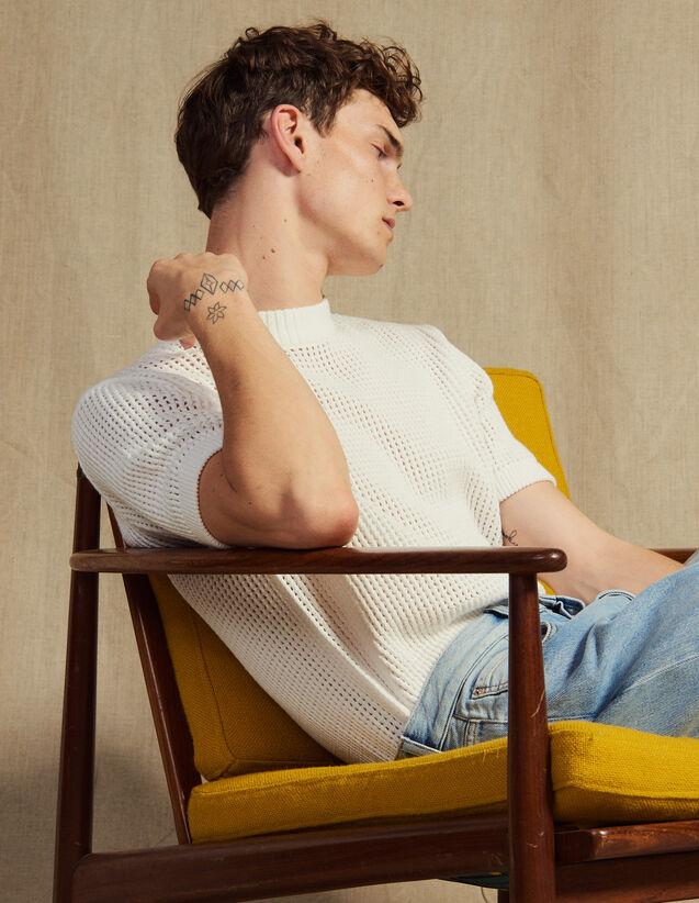 Pull En Maille Ajourée : Pulls & Cardigans couleur Ecru