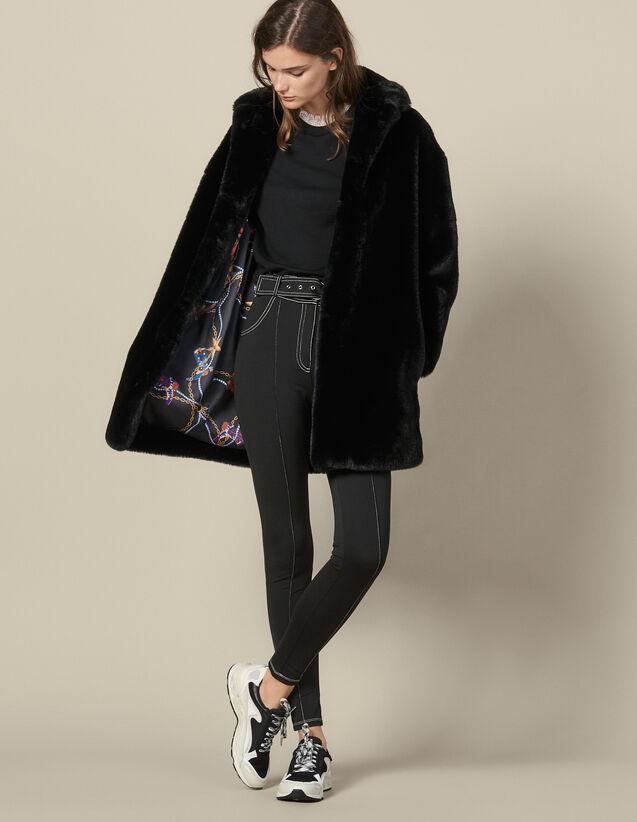 Manteau Court En Fausse Fourrure : Manteaux couleur Noir