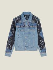 Veste En Jean À Empiècements Imprimés : Blousons & Vestes couleur Blue Vintage - Denim