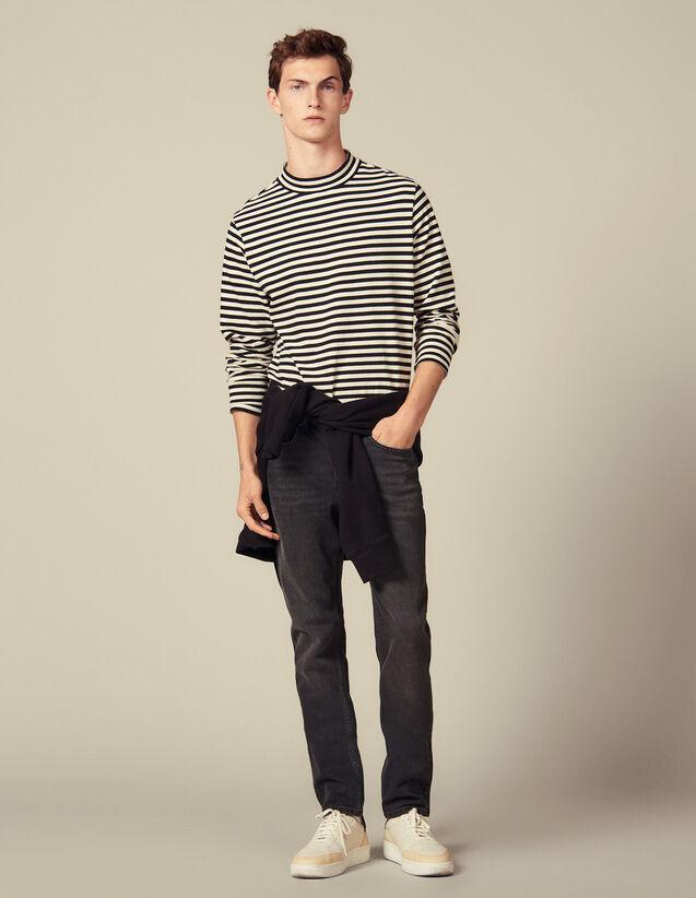 Jean Slim Délavé Stretch : Jeans couleur Black - Denim