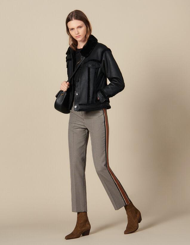 Pantalon droit à carreaux et galons : Pantalons couleur Marron