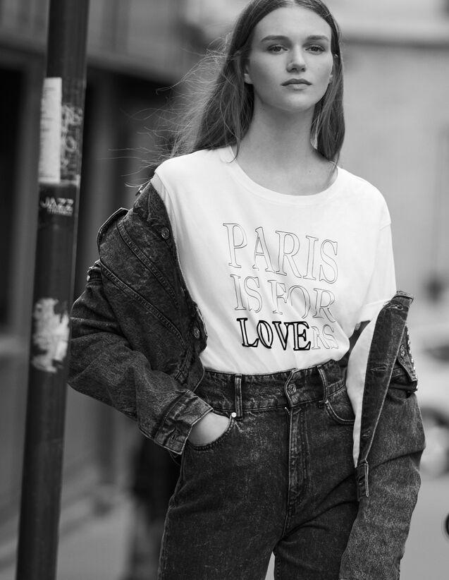 T-Shirt En Coton Avec Inscriptions : T-shirts couleur blanc