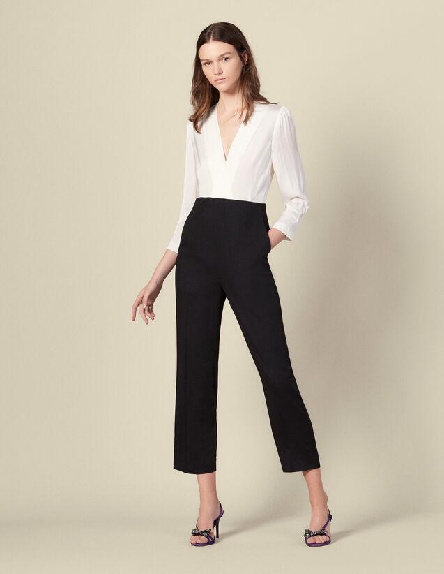 Combinaison pantalon bi-matière : Combinaisons couleur Ecru/Noir