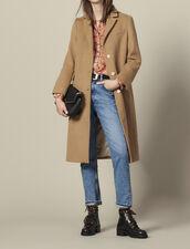 Manteau long en drap de laine ajusté : Manteaux couleur Beige