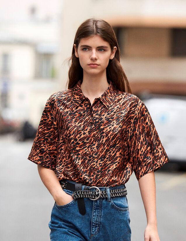 Chemise Imprimée En Twill De Soie : Tops & Chemises couleur Brown