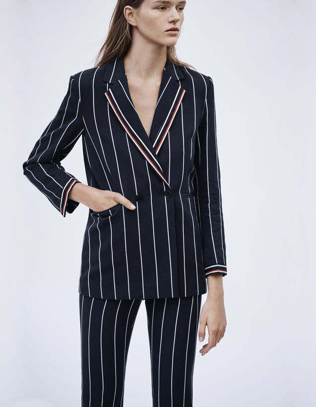 Veste De Blazer À Rayures Assortie : Blousons & Vestes couleur Marine