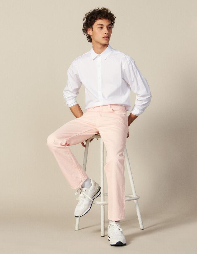 Jean En Toile De Coton - Coupe Droite : Jeans couleur Rose