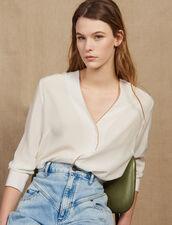 Chemise En Soie Décolletée : Tops & Chemises couleur Ecru