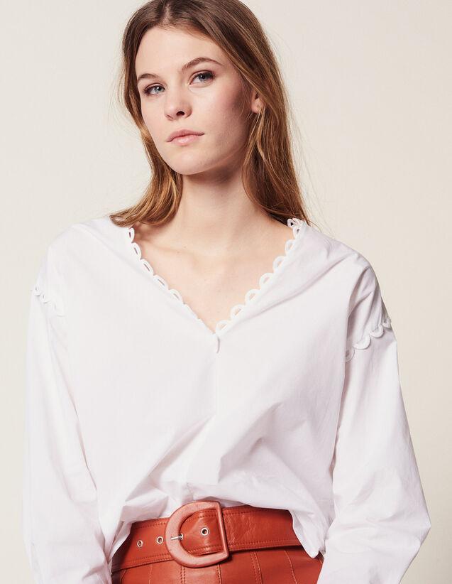 Top en coton manches longues   Tops   Chemises couleur Blanc 0a7bef2e4b5