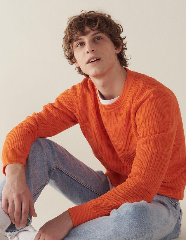 Pull En Maille Reliefée En Coton : Pulls & Cardigans couleur Blanc