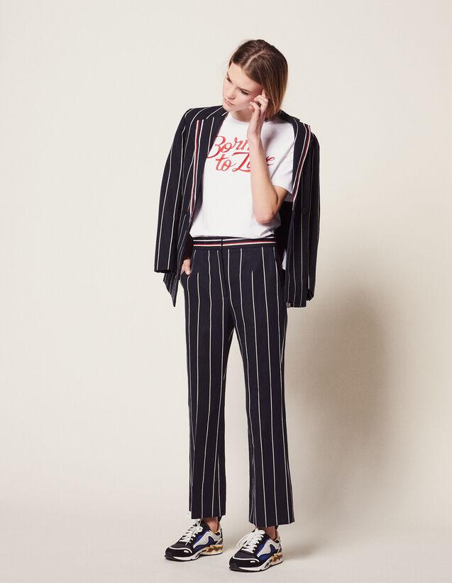Pantalon À Rayures Contrastées : Pantalons couleur Marine