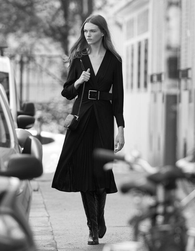 Robe longue drapée : -50% couleur Noir
