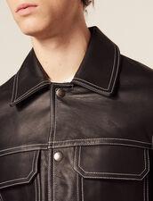 Veste En Cuir Surpiquée : Blousons & Vestes couleur Noir