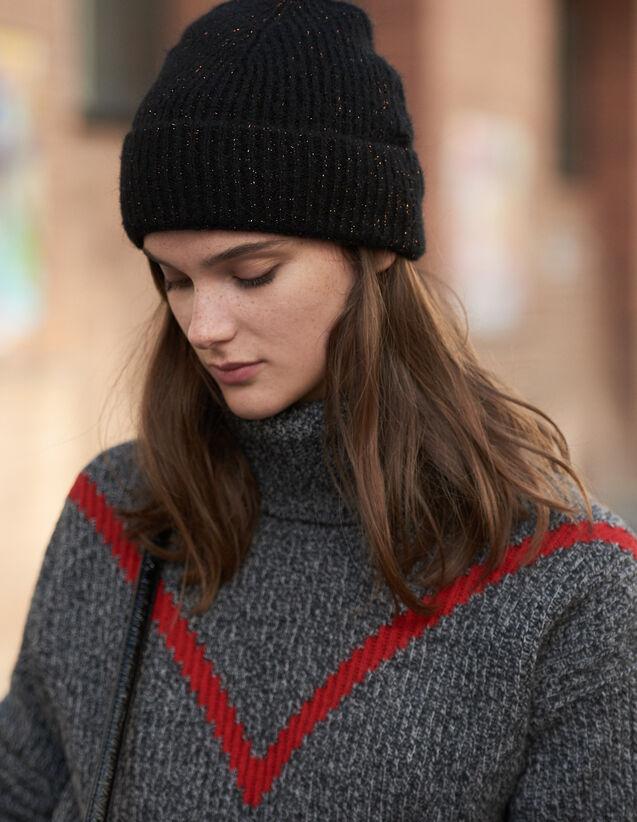 Bonnet En Lurex : Gants & Bonnets couleur Noir