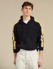 Hoodie À Capuche Avec Galons À Rayures : SOLDES-UK-HSelection-Pulls&Cardigans couleur Marine