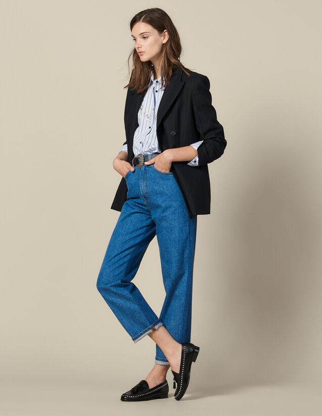 Jean Coupe Mom Bicolore : Jeans couleur Bleu Denim