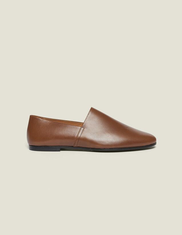 Slippers En Cuir : Chaussures couleur Marron