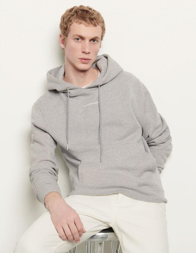 Sweat hoodie avec broderie logo : Sweats couleur Gris Chiné