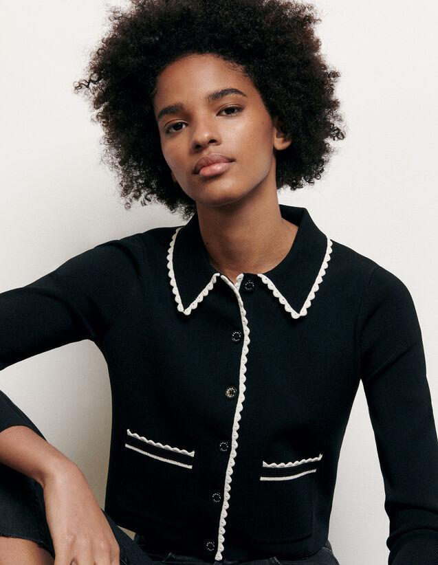 Cardigan court à col chemise : Collection Été couleur Noir