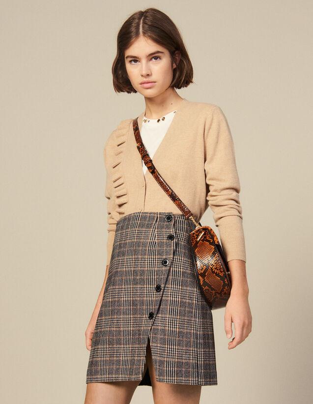 Jupe  Portefeuille Fendue À Carreaux : Jupes & Shorts couleur Camel