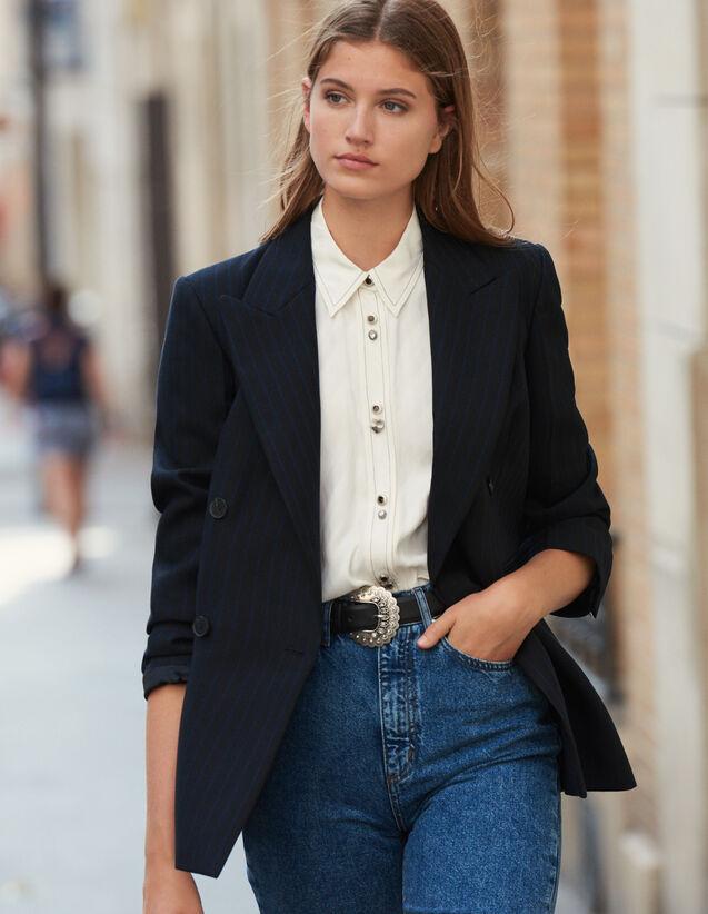 Blazer oversize à rayures : Blousons & Vestes couleur Noir