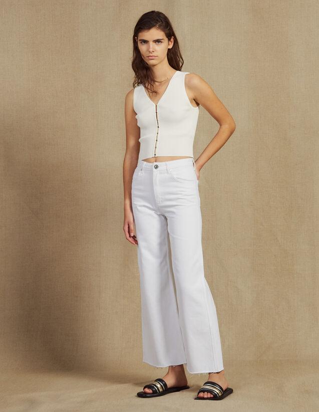 Jean Évasé Taille Haute : Jeans couleur Blanc