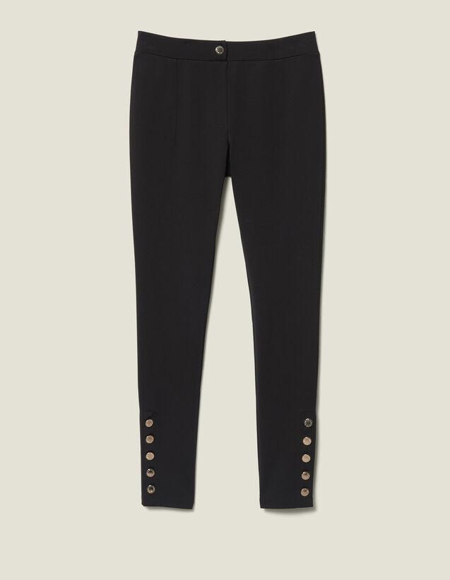 Legging Avec Boutons Pressions : Pantalons couleur Noir