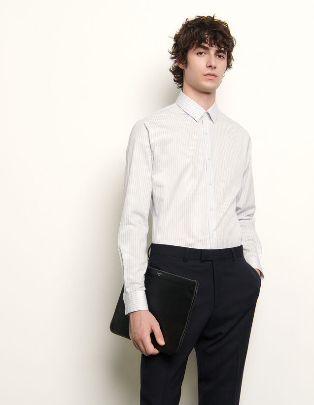 Chemise formelle à rayures : Chemises couleur fond blanc/rayure bleu