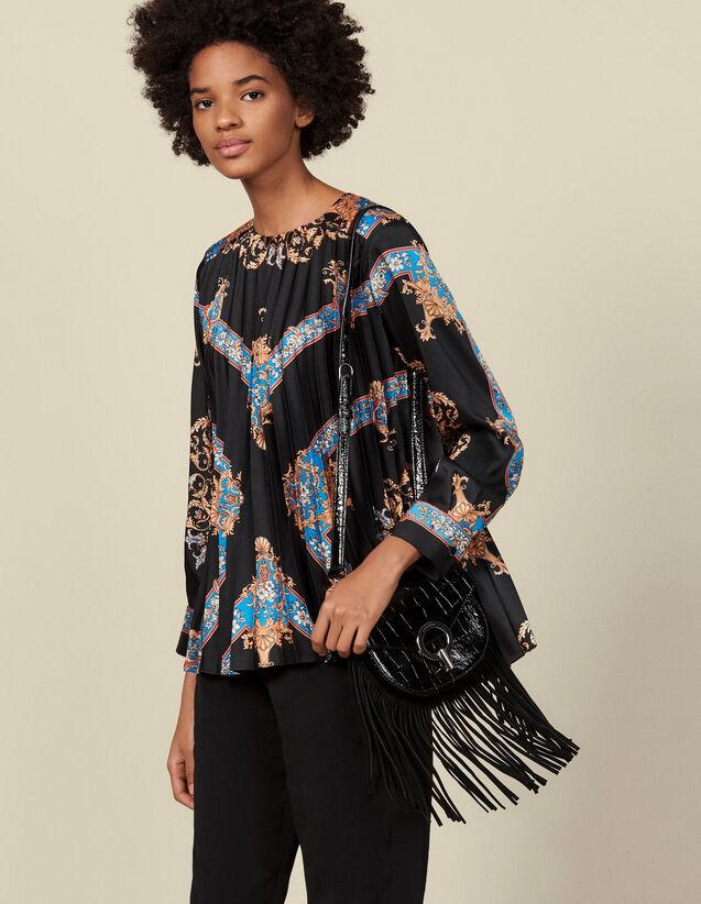 Top fluide plissé à imprimé placé : Tops & Chemises couleur Noir