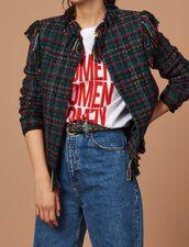 Veste à carreaux en tweed frangé : Toute la sélection couleur Multicolore