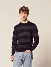 Pull En Coton À Fines Rayures : Pulls & Cardigans couleur Marine