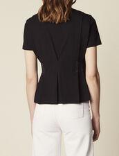 T-Shirt Décolleté V À Surpiqures : T-shirts couleur Noir