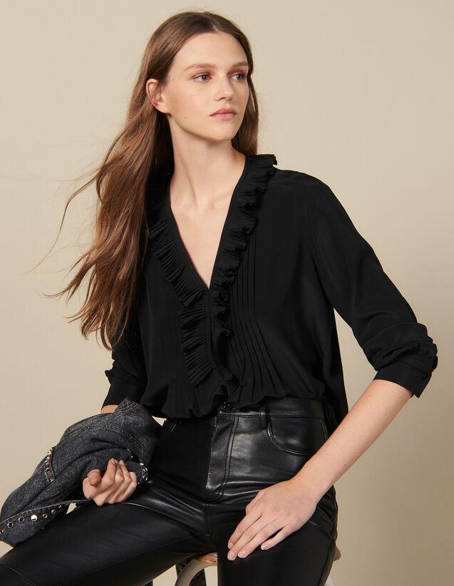 Top en soie à decolleté bordé de plissé : Tops & Chemises couleur Ecru