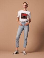 Jean Taille Haute Délavé : Jeans couleur Blue Vintage - Denim