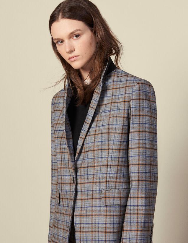Blazer en laine à carreaux : Blousons & Vestes couleur Gris