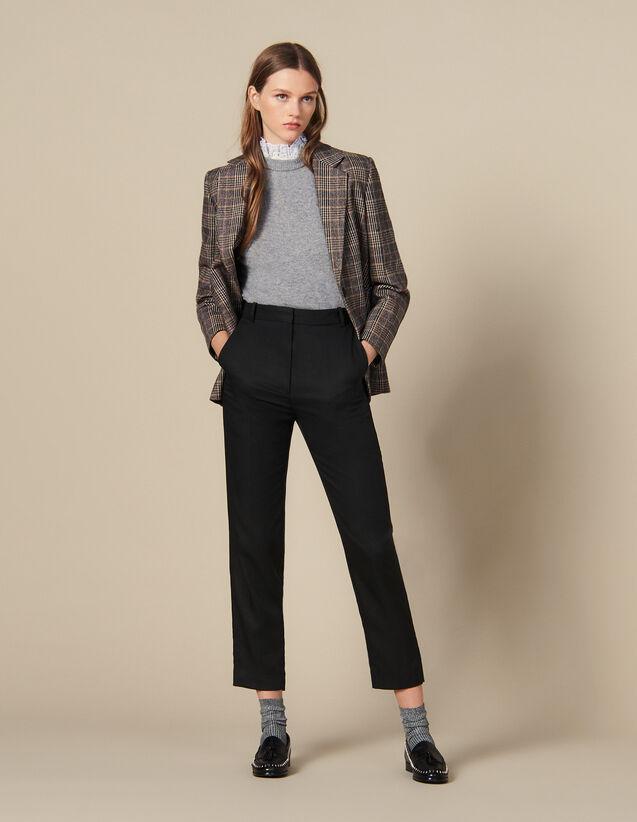 Pantalon cintré avec plis nervurés : Pantalons couleur Noir