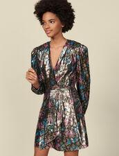 Robe courte en jacquard lurex : Robes couleur Multicolore
