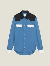 Chemise Style Western Colorblock : SOLDES-CH-HSelection-PAP&ACCESS-2DEM couleur Bleu