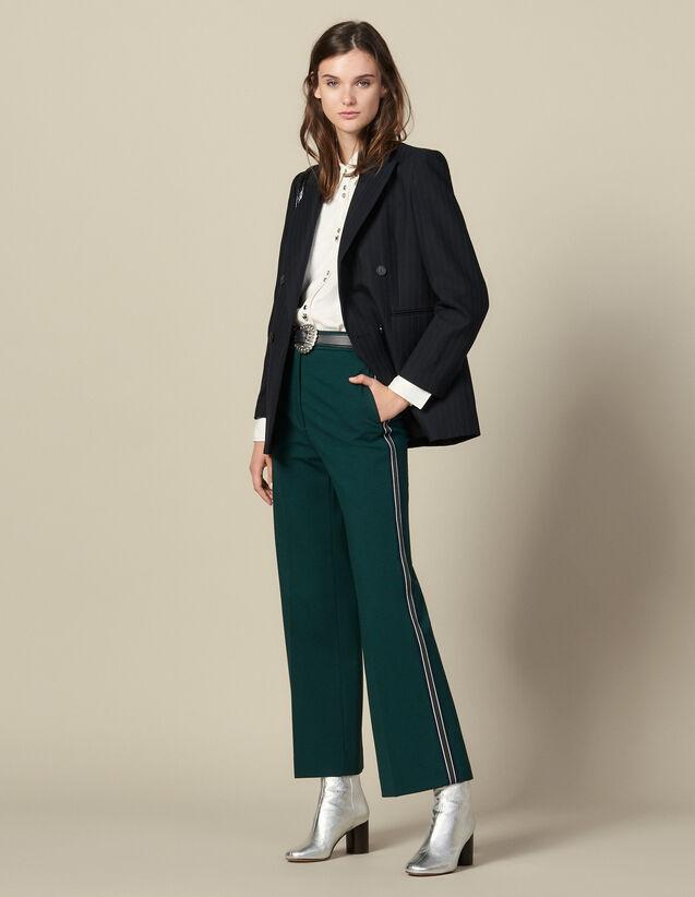 Pantalon large à galons tricolores : Pantalons couleur verde
