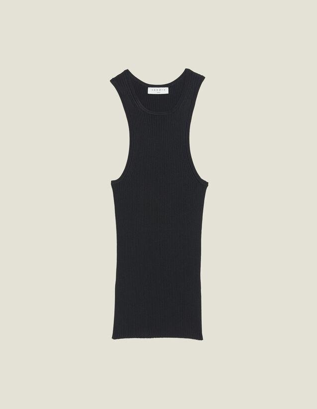 Top En Maille Côtelée Sans Manches : Tops & Chemises couleur Noir