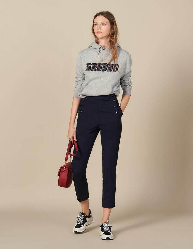 Pantalon fuselé à pont : Pantalons couleur Marine