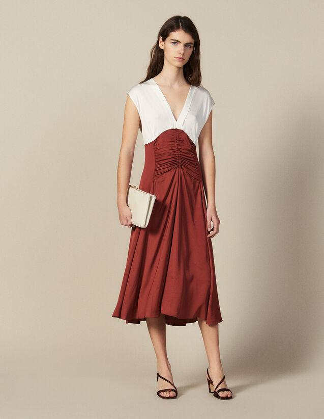 Robe Midi Avec Jeu De Fronces : Robes couleur Ecru