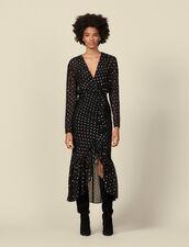 Robe longue à volants et pois lurex : Robes couleur Noir