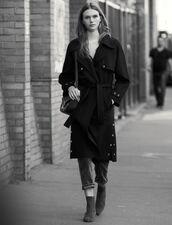 Trench-Coat Double Face En Laine : Manteaux couleur Noir
