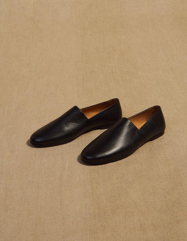 Slippers En Cuir Grainé : Chaussures couleur Noir