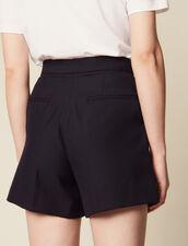 Short Taille Haute À Volants : Jupes & Shorts couleur Marine