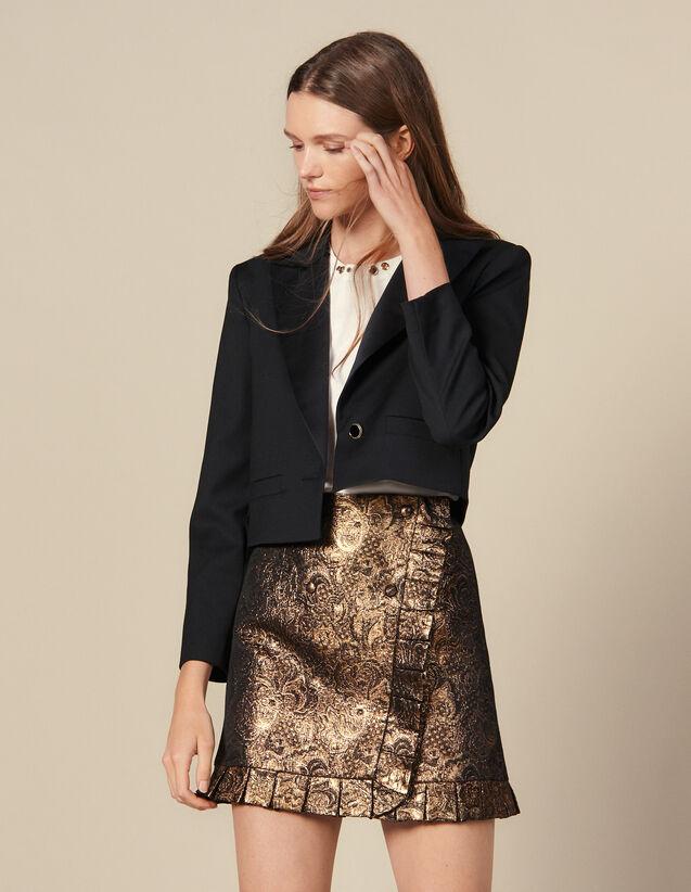 Jupe En Brocard Effet Portefeuille : Jupes & Shorts couleur Or