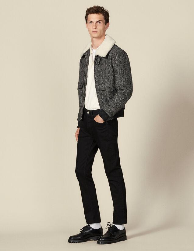 Veste aviateur en laine : Blousons & Vestes couleur Gris
