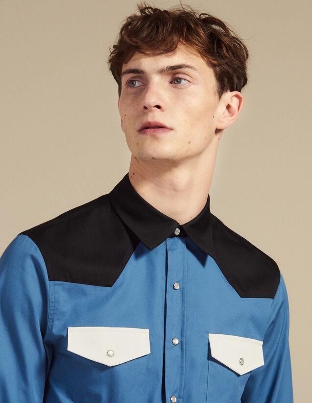 Chemise Style Western Colorblock : Chemises couleur Bleu