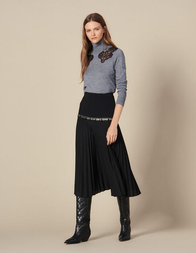 Jupe Longue Portefeuille Plissée : Jupes & Shorts couleur Noir
